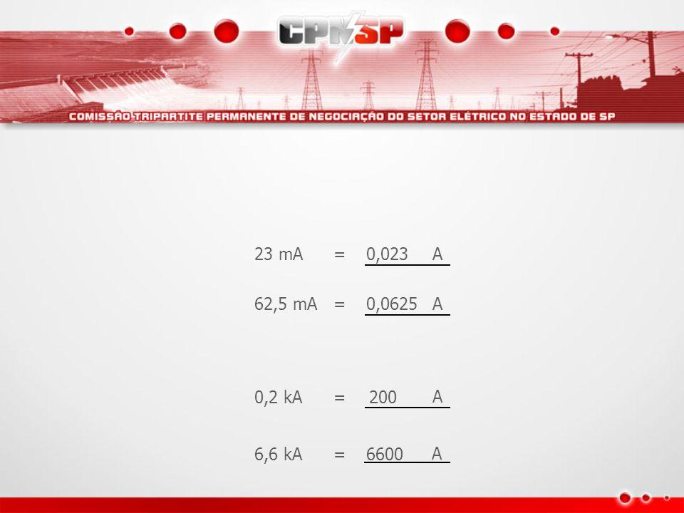 23 mA = 0,023 A 62,5 mA = 0,0625 A 0,2 kA = 200 A 6,6 kA = 6600 A
