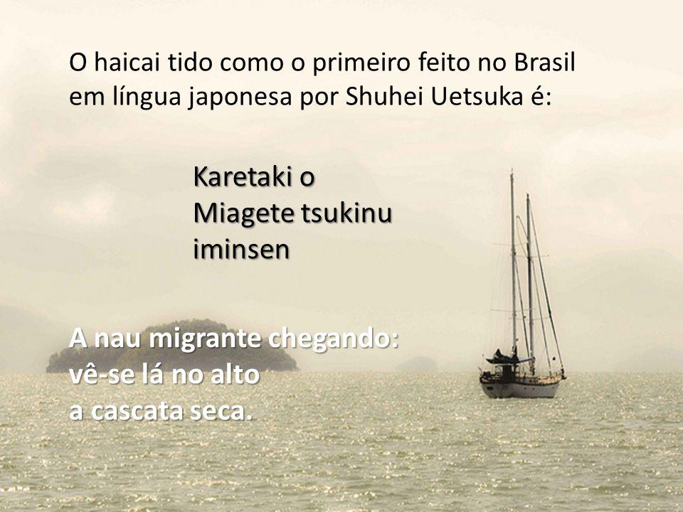 A nau migrante chegando: vê-se lá no alto a cascata seca.