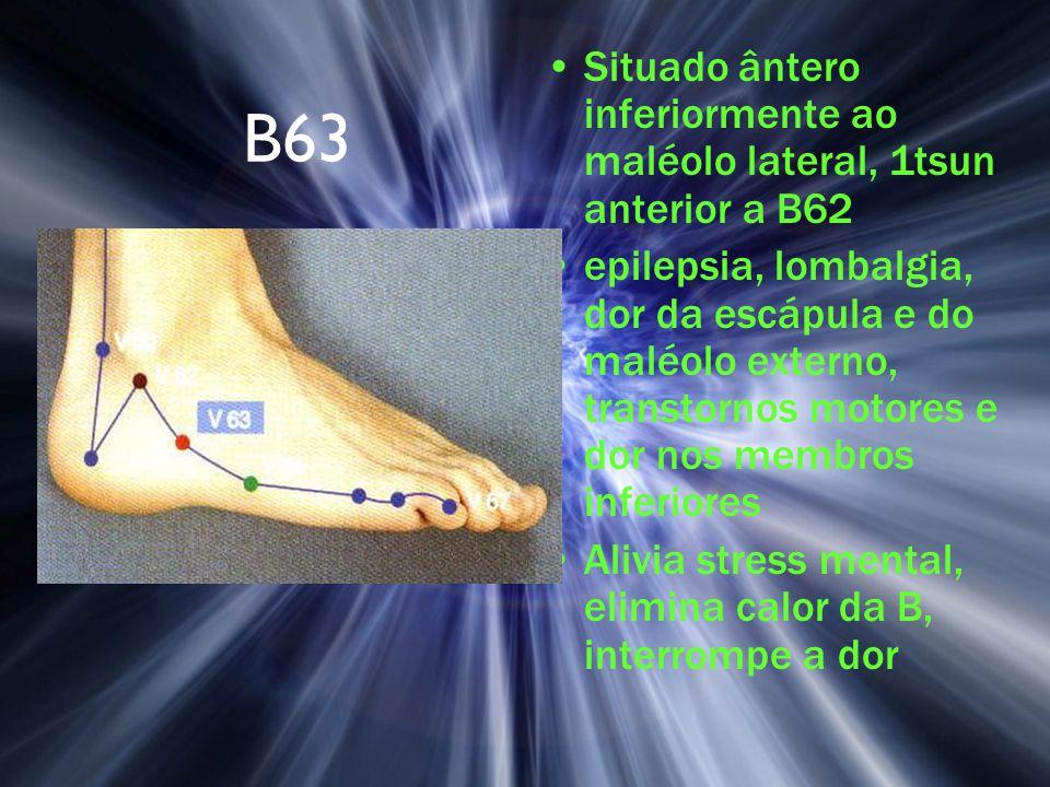 Situado ântero inferiormente ao maléolo lateral, 1tsun anterior a B62