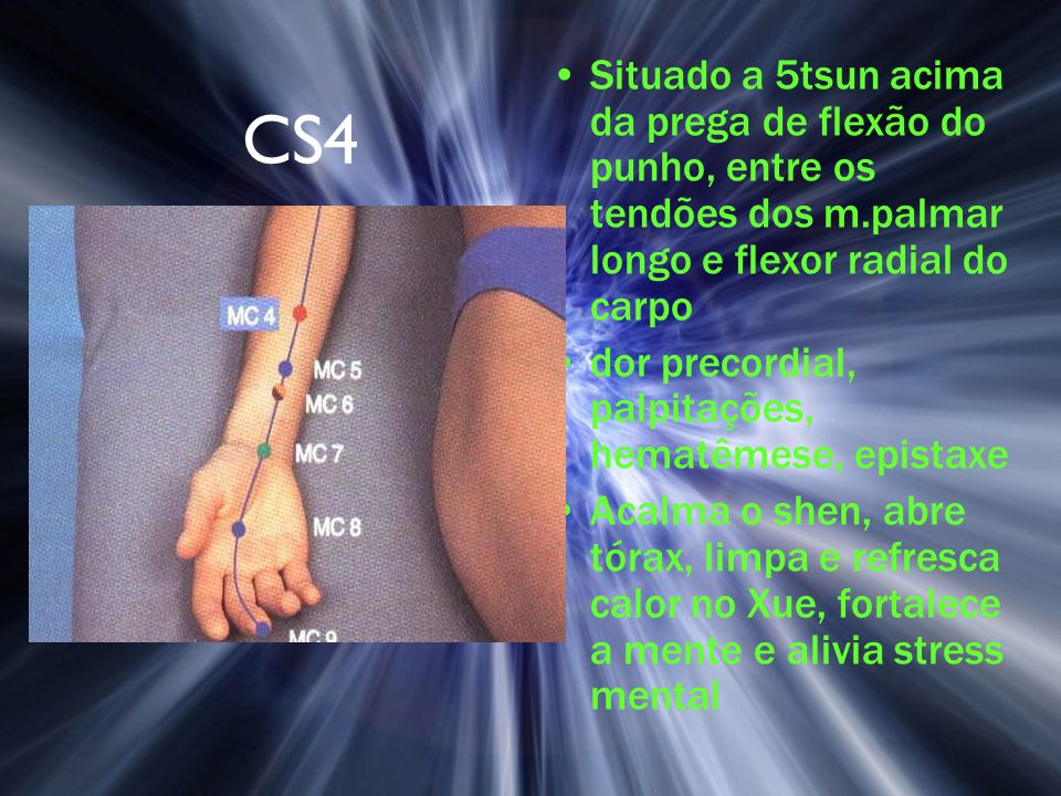 Situado a 5tsun acima da prega de flexão do punho, entre os tendões dos m.palmar longo e flexor radial do carpo