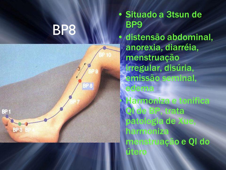 Situado a 3tsun de BP9 distensão abdominal, anorexia, diarréia, menstruação irregular, disúria, emissão seminal, edema.