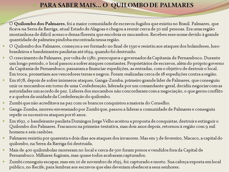 PARA SABER MAIS... O QUILOMBO DE PALMARES