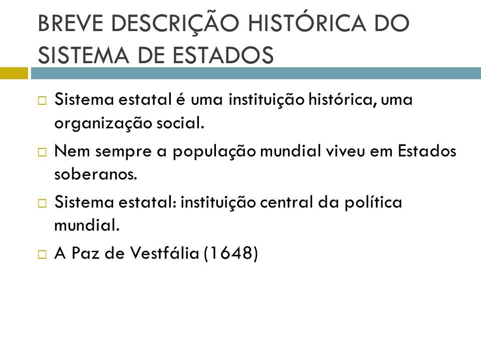 BREVE DESCRIÇÃO HISTÓRICA DO SISTEMA DE ESTADOS