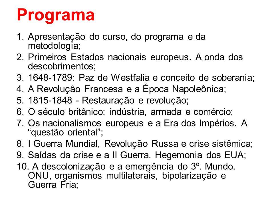 Programa Apresentação do curso, do programa e da metodologia;