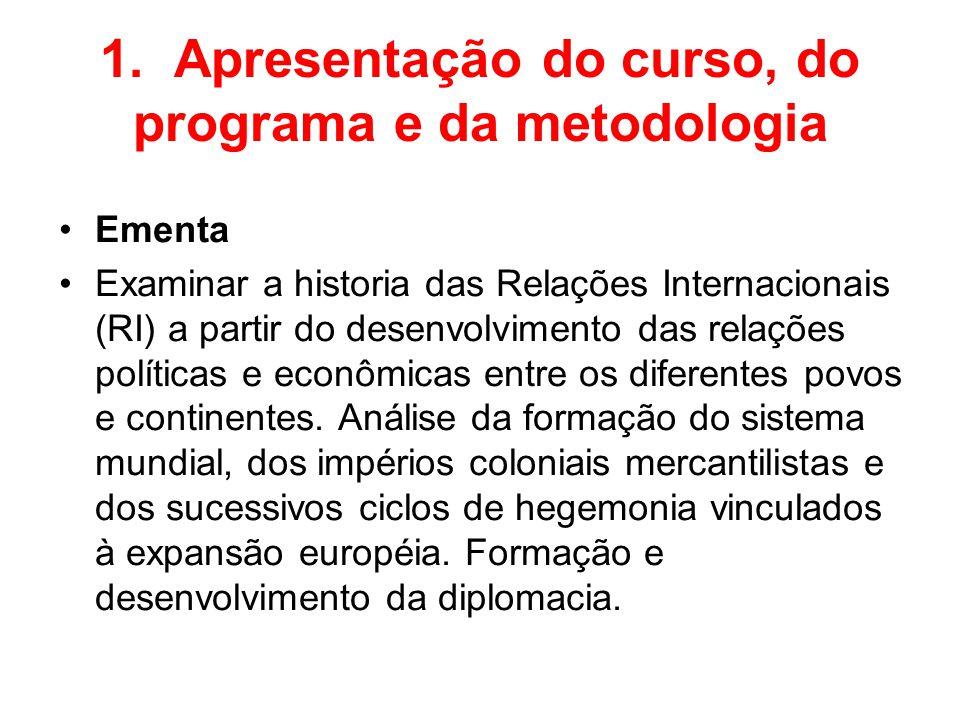 1. Apresentação do curso, do programa e da metodologia