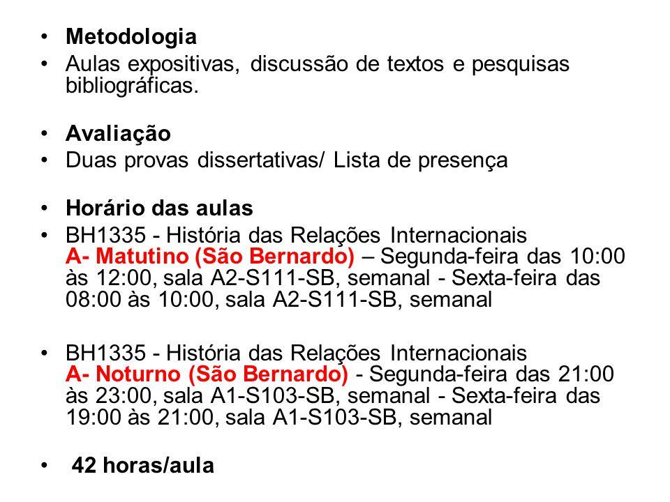 Metodologia Aulas expositivas, discussão de textos e pesquisas bibliográficas. Avaliação. Duas provas dissertativas/ Lista de presença.