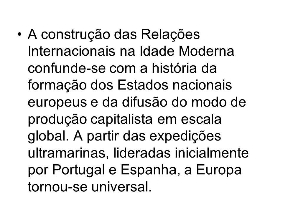 A construção das Relações Internacionais na Idade Moderna confunde-se com a história da formação dos Estados nacionais europeus e da difusão do modo de produção capitalista em escala global.