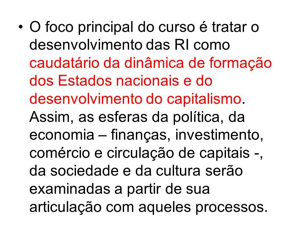O foco principal do curso é tratar o desenvolvimento das RI como caudatário da dinâmica de formação dos Estados nacionais e do desenvolvimento do capitalismo.