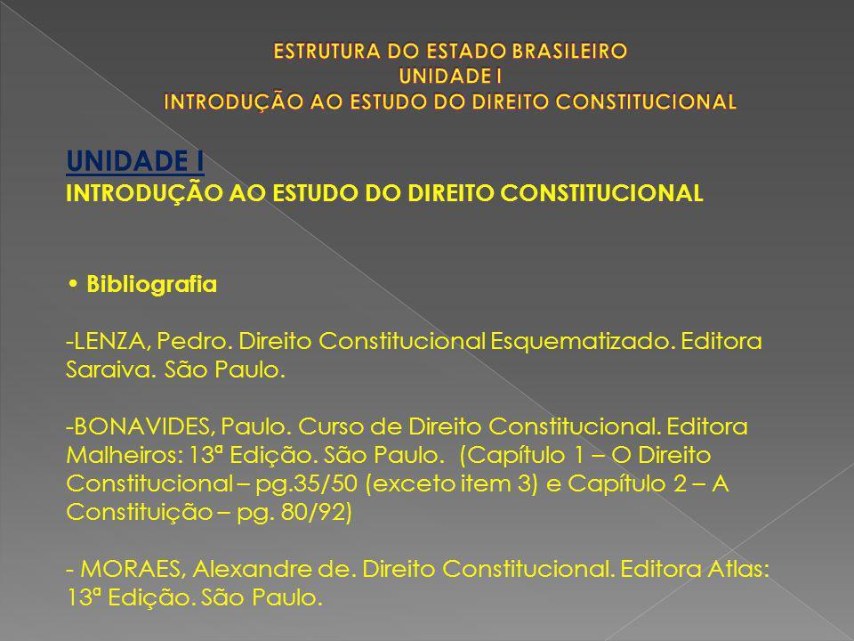 UNIDADE I INTRODUÇÃO AO ESTUDO DO DIREITO CONSTITUCIONAL