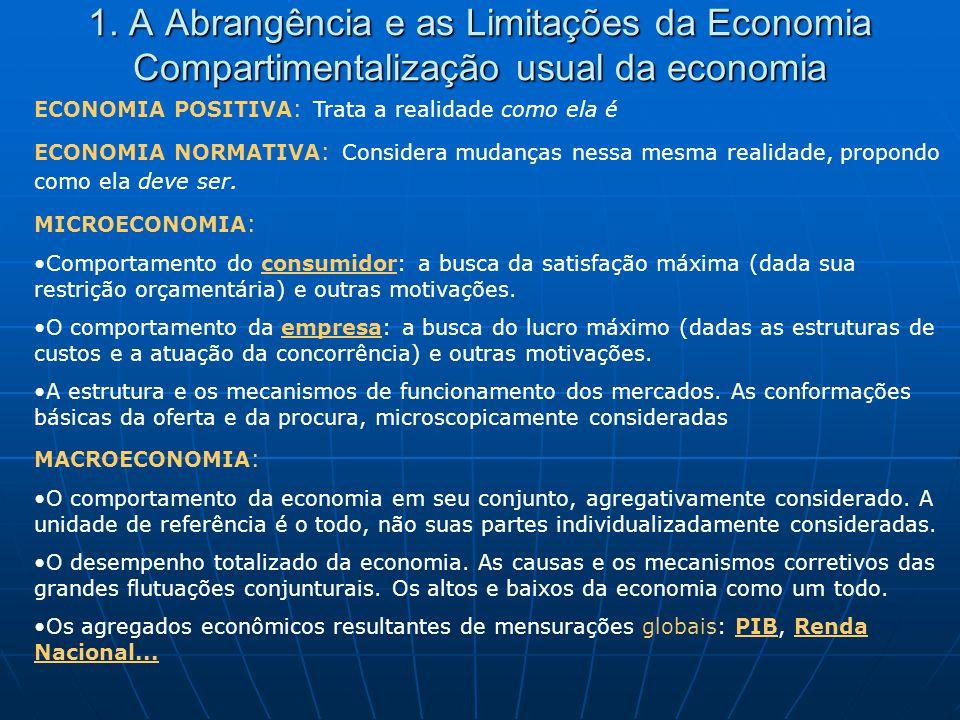 1. A Abrangência e as Limitações da Economia Compartimentalização usual da economia