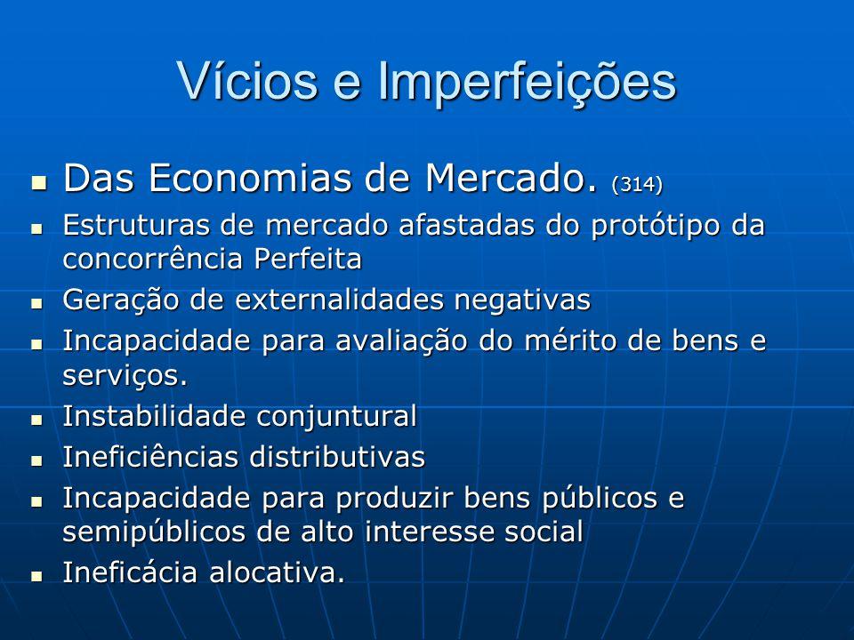 Vícios e Imperfeições Das Economias de Mercado. (314)