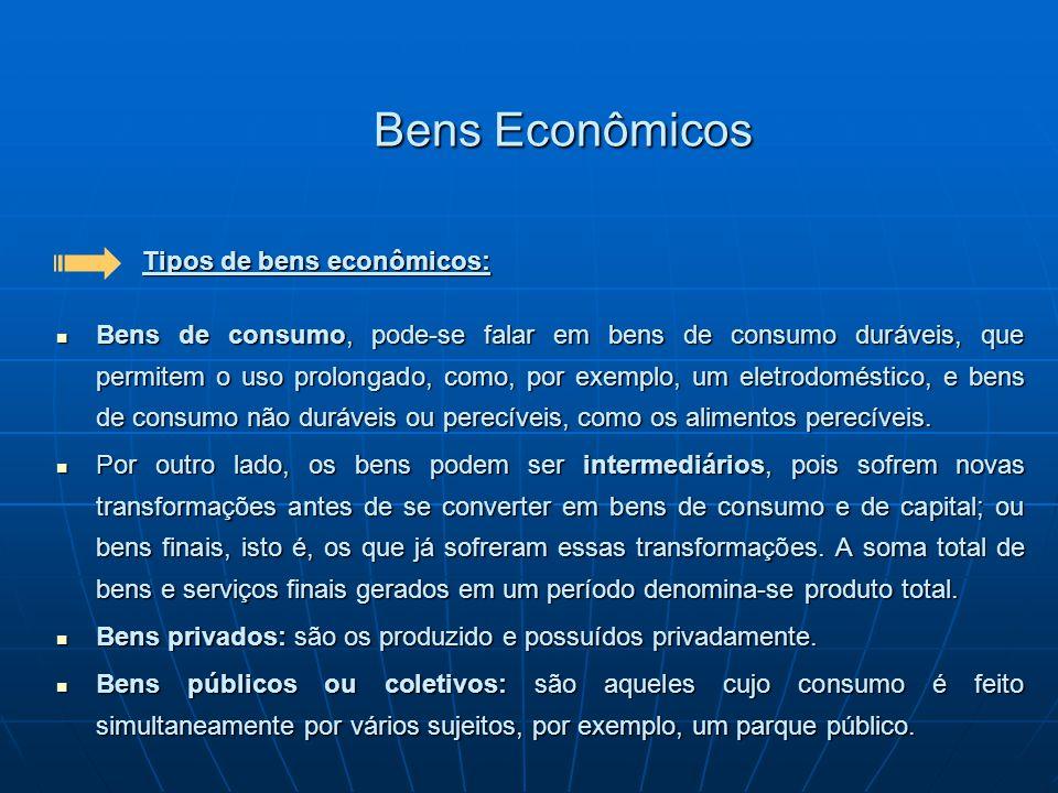 Bens Econômicos Tipos de bens econômicos: