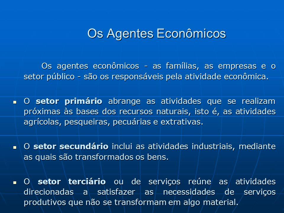 Os Agentes Econômicos Os agentes econômicos - as famílias, as empresas e o setor público - são os responsáveis pela atividade econômica.