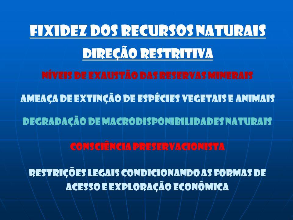 Fixidez dos RECURSOS NATURAIS