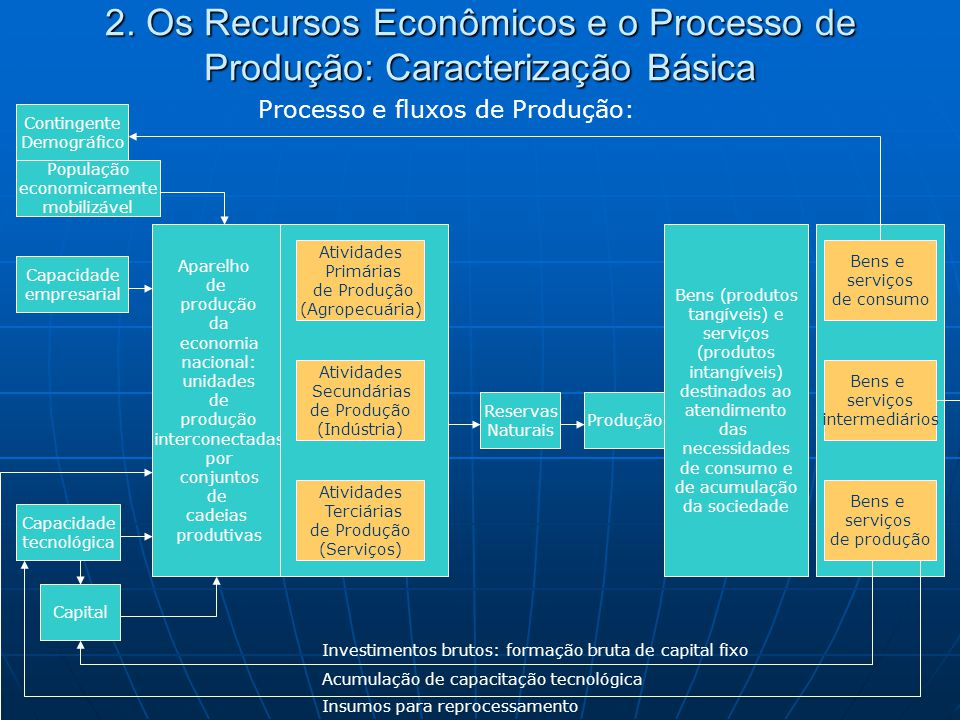 2. Os Recursos Econômicos e o Processo de Produção: Caracterização Básica