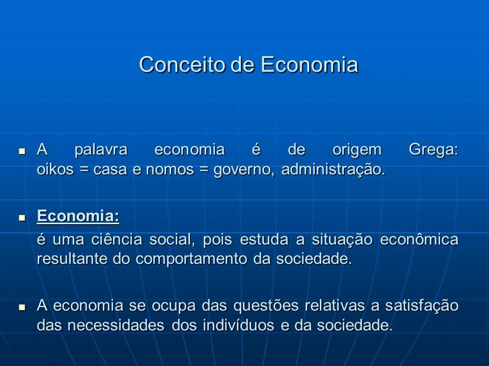 Conceito de Economia A palavra economia é de origem Grega: oikos = casa e nomos = governo, administração.
