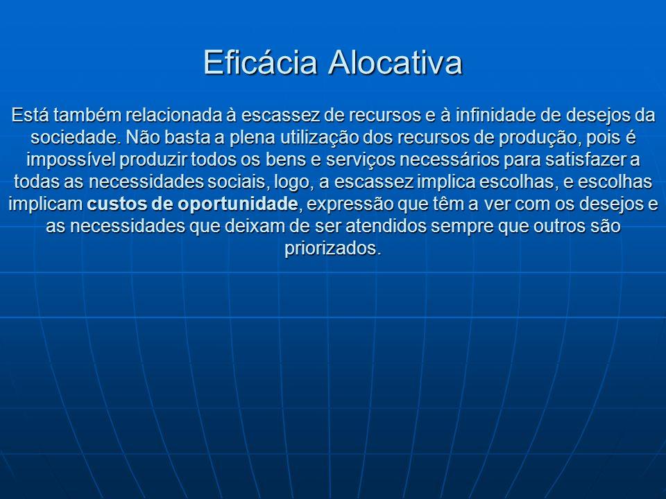 Eficácia Alocativa Está também relacionada à escassez de recursos e à infinidade de desejos da sociedade.