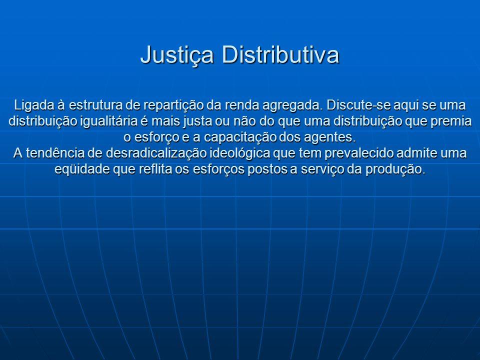 Justiça Distributiva Ligada à estrutura de repartição da renda agregada.
