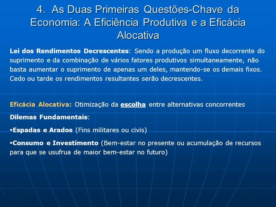 4. As Duas Primeiras Questões-Chave da Economia: A Eficiência Produtiva e a Eficácia Alocativa