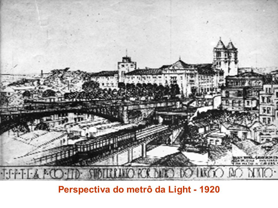 Perspectiva do metrô da Light - 1920