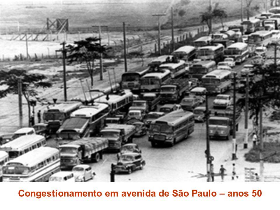 Congestionamento em avenida de São Paulo – anos 50