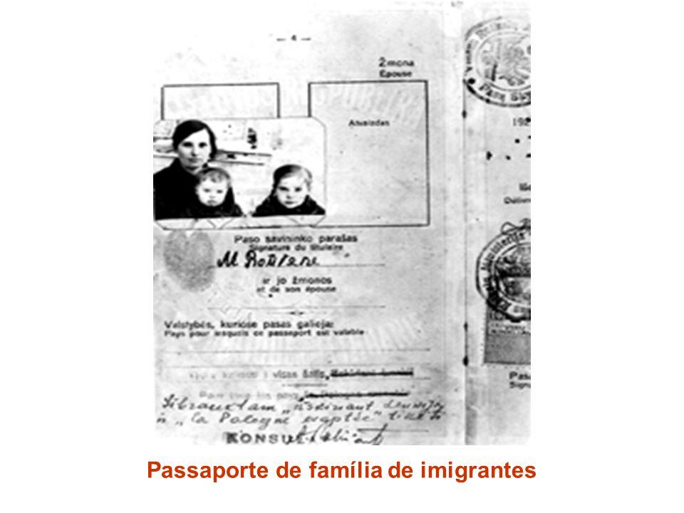 Passaporte de família de imigrantes