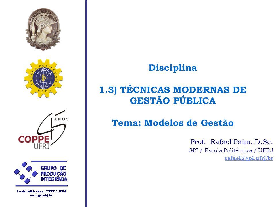 Disciplina 1.3) TÉCNICAS MODERNAS DE GESTÃO PÚBLICA Tema: Modelos de Gestão