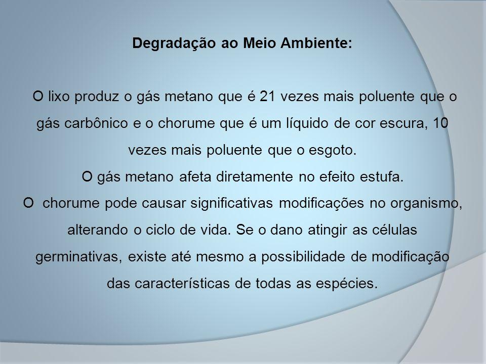 Degradação ao Meio Ambiente: O lixo produz o gás metano que é 21 vezes mais poluente que o gás carbônico e o chorume que é um líquido de cor escura, 10 vezes mais poluente que o esgoto.