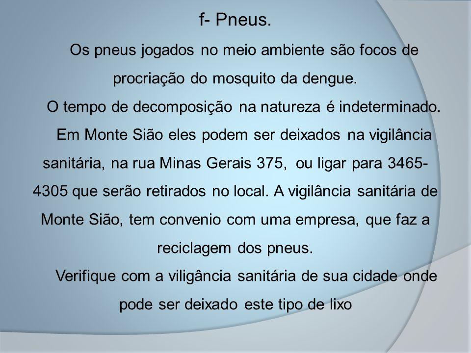 f- Pneus. Os pneus jogados no meio ambiente são focos de procriação do mosquito da dengue.