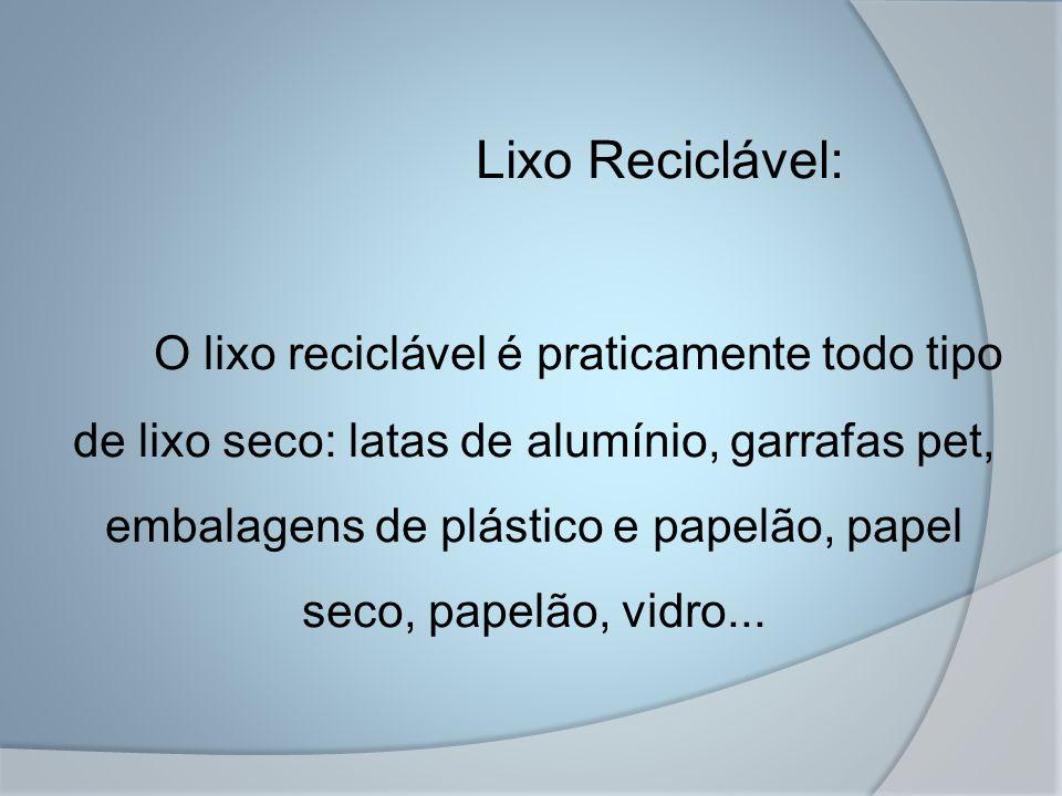 Lixo Reciclável: O lixo reciclável é praticamente todo tipo de lixo seco: latas de alumínio, garrafas pet, embalagens de plástico e papelão, papel seco, papelão, vidro...