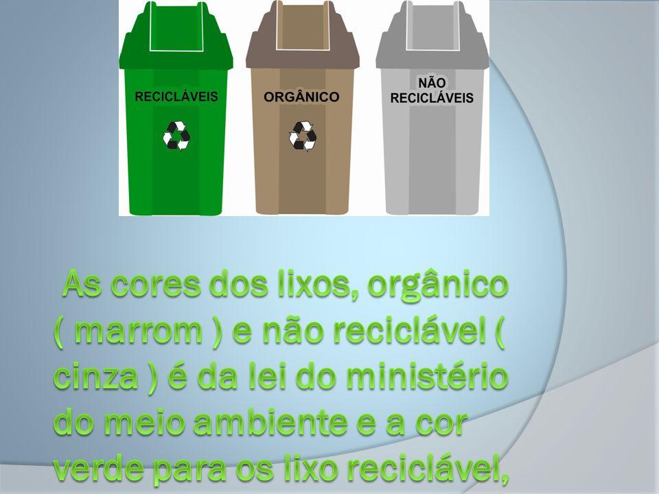 As cores dos lixos, orgânico ( marrom ) e não reciclável ( cinza ) é da lei do ministério do meio ambiente e a cor verde para os lixo reciclável, foram as cores escolhidas para serem usadas na cidade de Monte Sião.