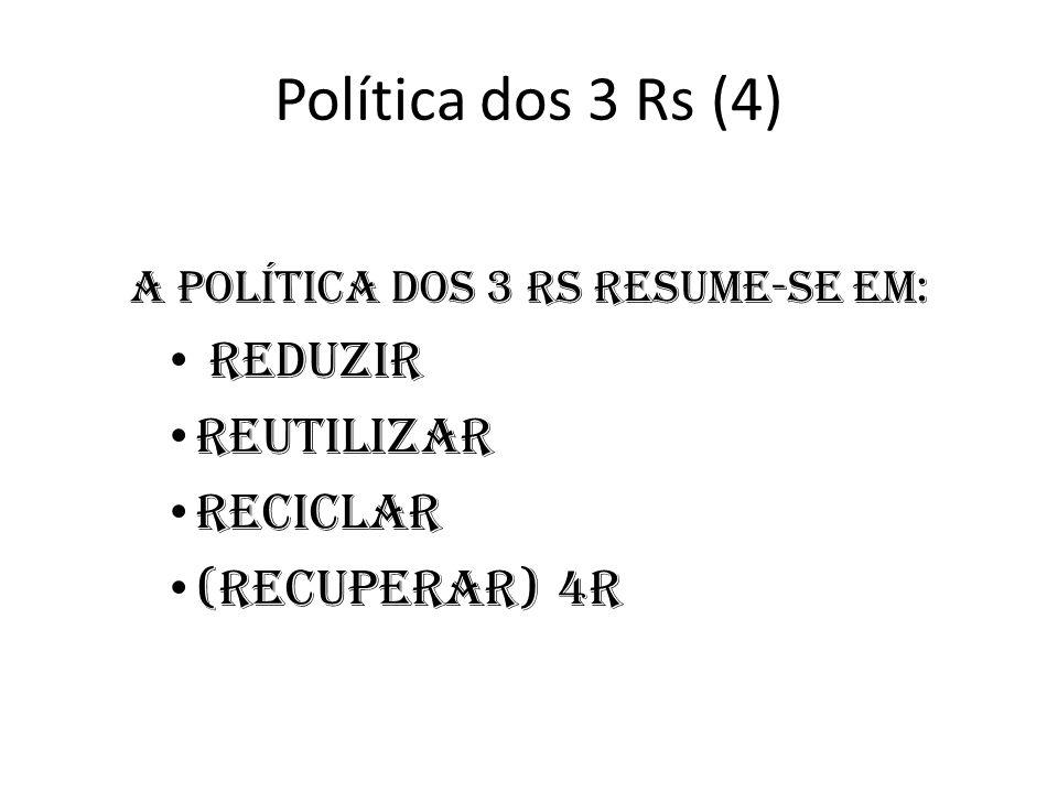 A política dos 3 Rs resume-se em:
