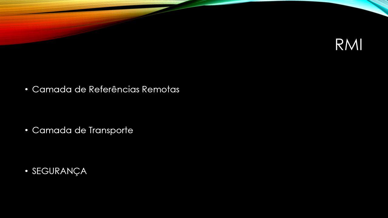 RMI Camada de Referências Remotas Camada de Transporte SEGURANÇA