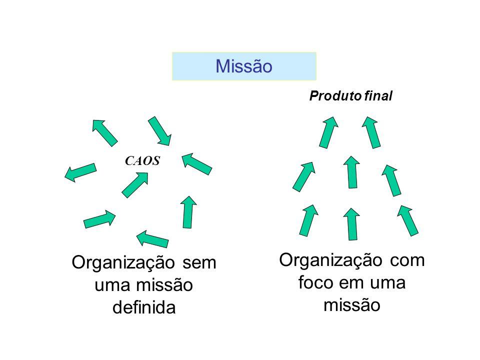 Organização sem uma missão definida Organização com foco em uma missão