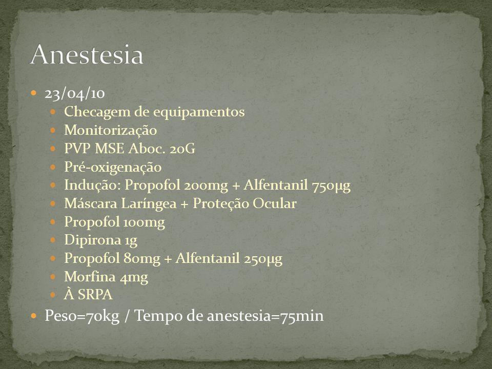 Anestesia 23/04/10 Peso=70kg / Tempo de anestesia=75min