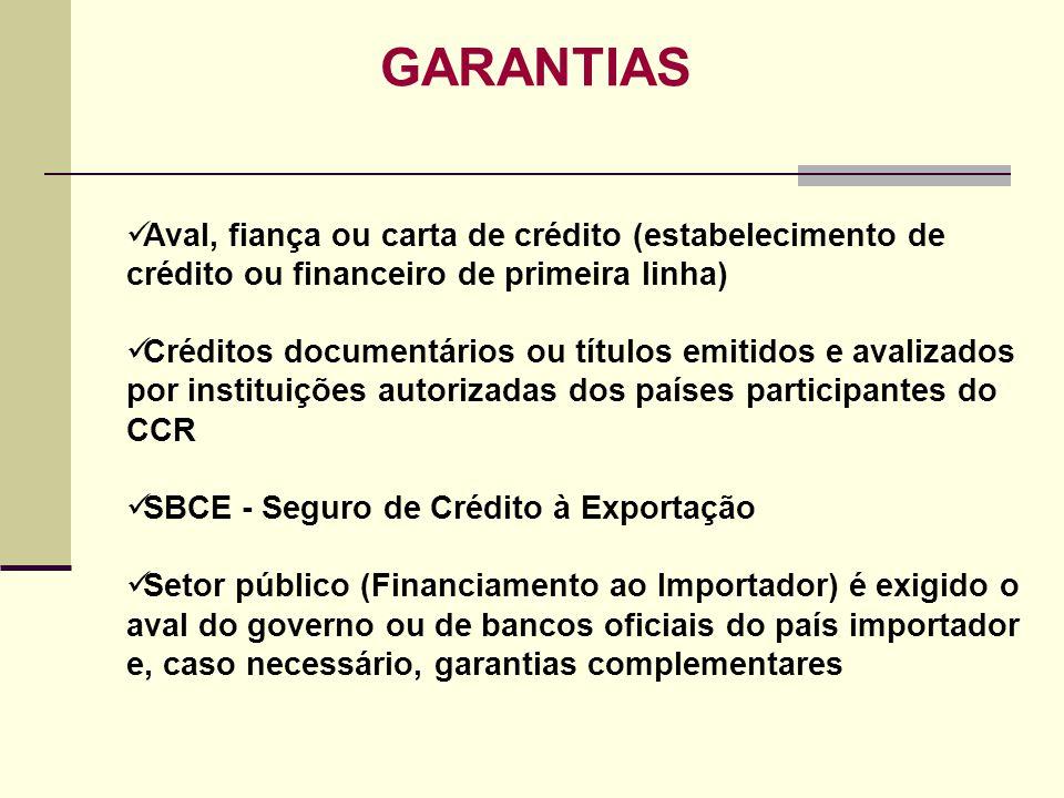 GARANTIAS Aval, fiança ou carta de crédito (estabelecimento de crédito ou financeiro de primeira linha)