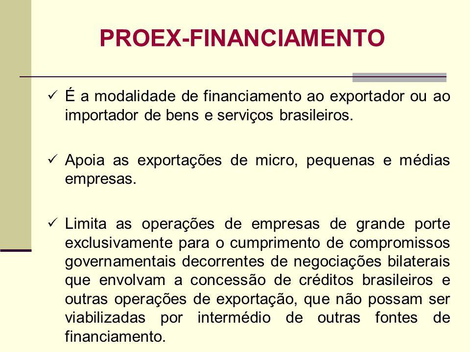 PROEX-FINANCIAMENTO É a modalidade de financiamento ao exportador ou ao importador de bens e serviços brasileiros.