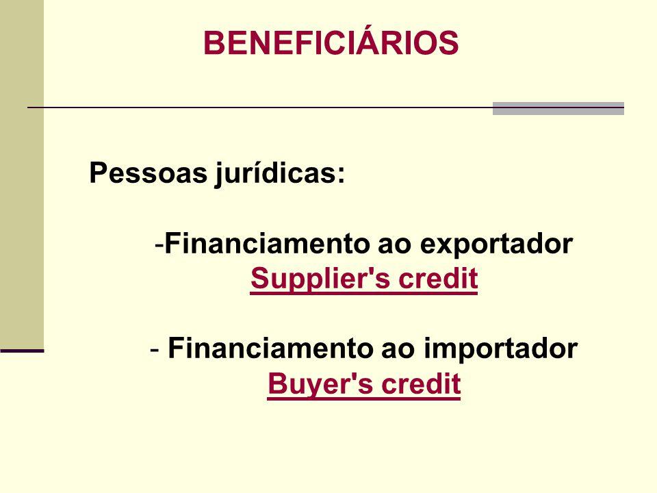 BENEFICIÁRIOS Pessoas jurídicas: