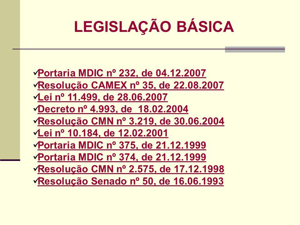 LEGISLAÇÃO BÁSICA Portaria MDIC nº 232, de 04.12.2007