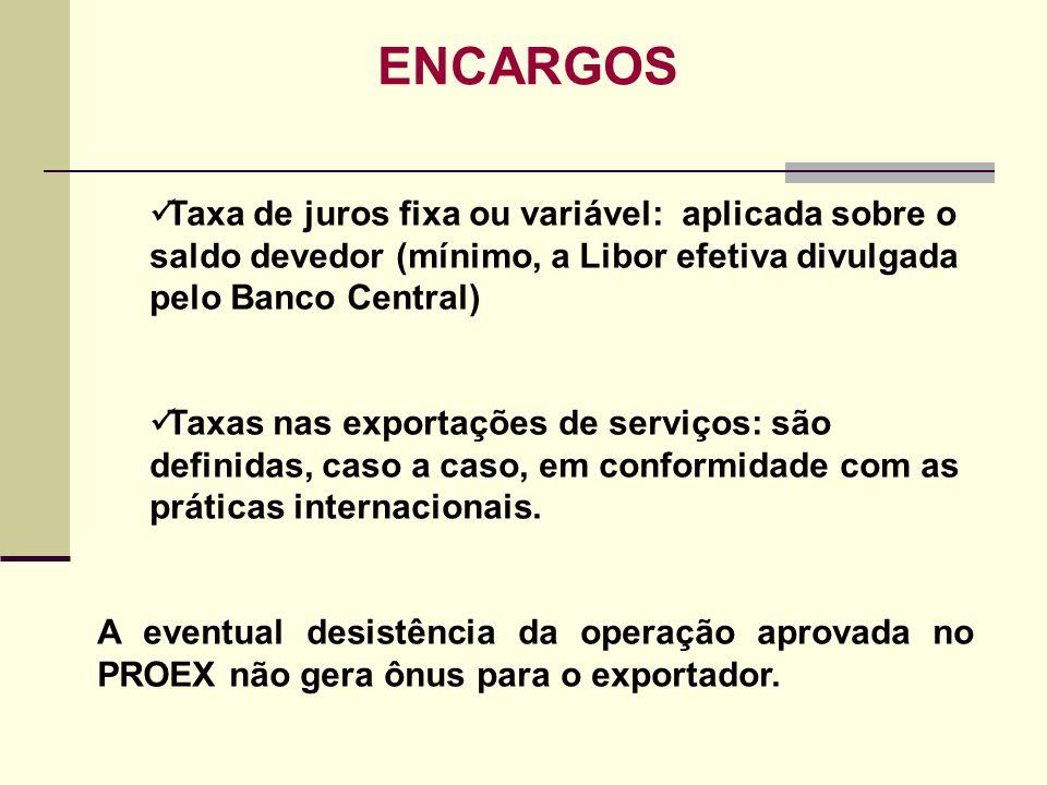 ENCARGOS Taxa de juros fixa ou variável: aplicada sobre o saldo devedor (mínimo, a Libor efetiva divulgada pelo Banco Central)