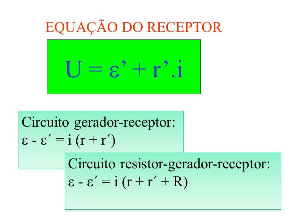 U = ' + r'.i EQUAÇÃO DO RECEPTOR Circuito gerador-receptor: