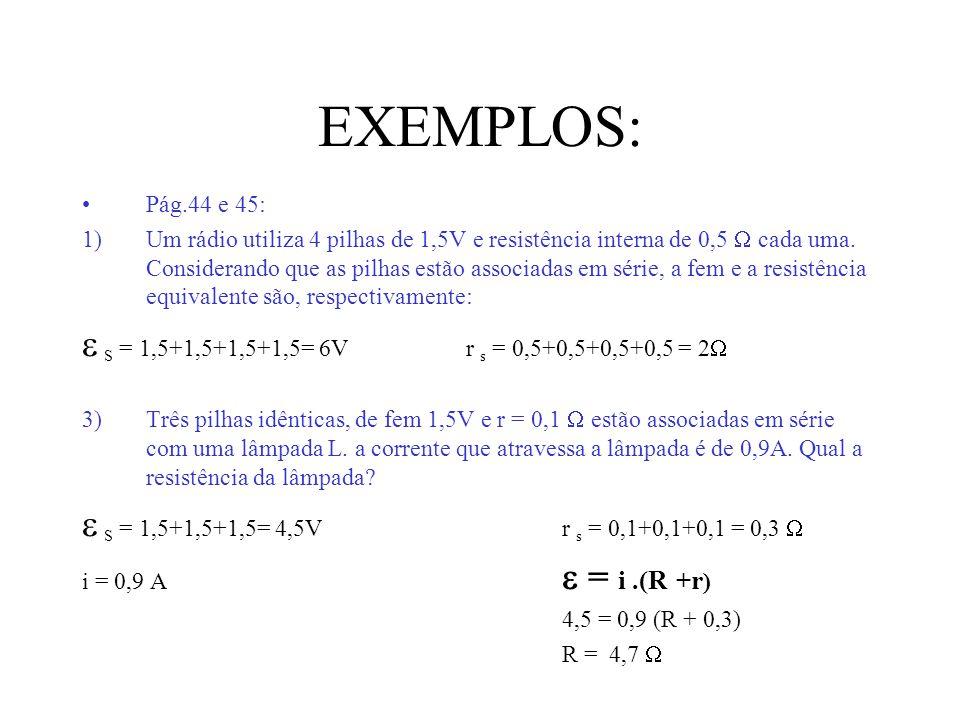 EXEMPLOS:  S = 1,5+1,5+1,5+1,5= 6V r s = 0,5+0,5+0,5+0,5 = 2