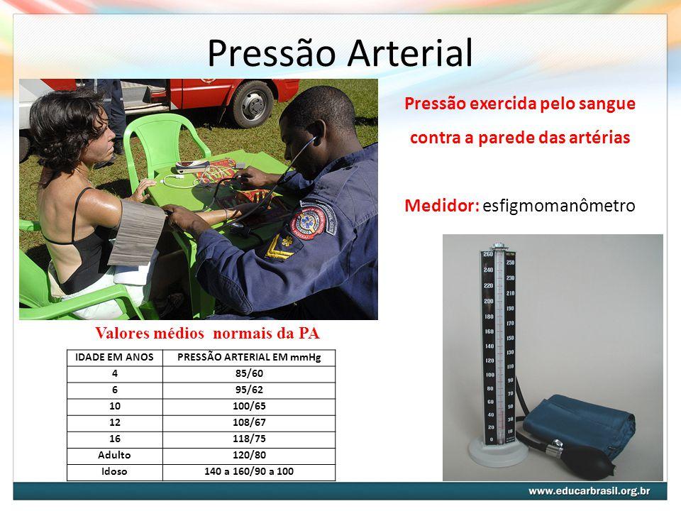 Pressão Arterial Pressão exercida pelo sangue contra a parede das artérias. Medidor: esfigmomanômetro.