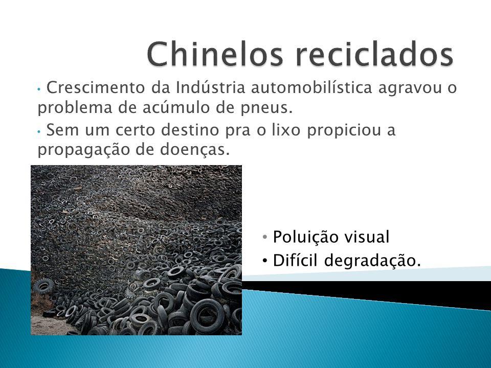 Chinelos reciclados Crescimento da Indústria automobilística agravou o problema de acúmulo de pneus.