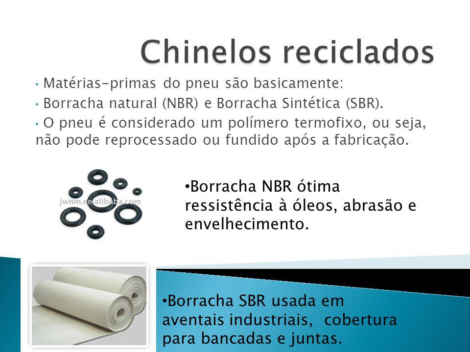Chinelos reciclados Matérias-primas do pneu são basicamente: Borracha natural (NBR) e Borracha Sintética (SBR).