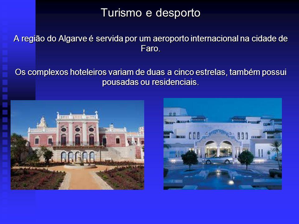 Turismo e desporto A região do Algarve é servida por um aeroporto internacional na cidade de Faro.