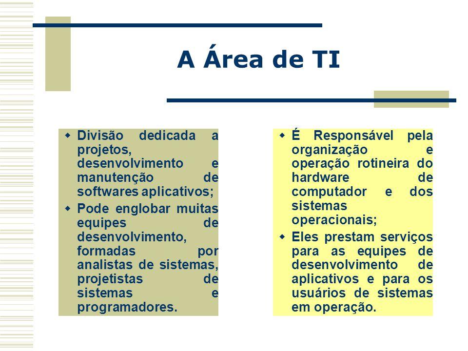 A Área de TI Divisão dedicada a projetos, desenvolvimento e manutenção de softwares aplicativos;