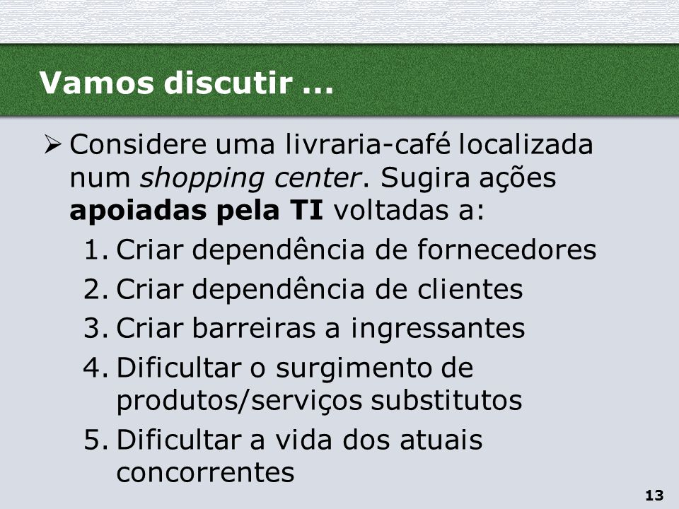 Vamos discutir ... Considere uma livraria-café localizada num shopping center. Sugira ações apoiadas pela TI voltadas a: