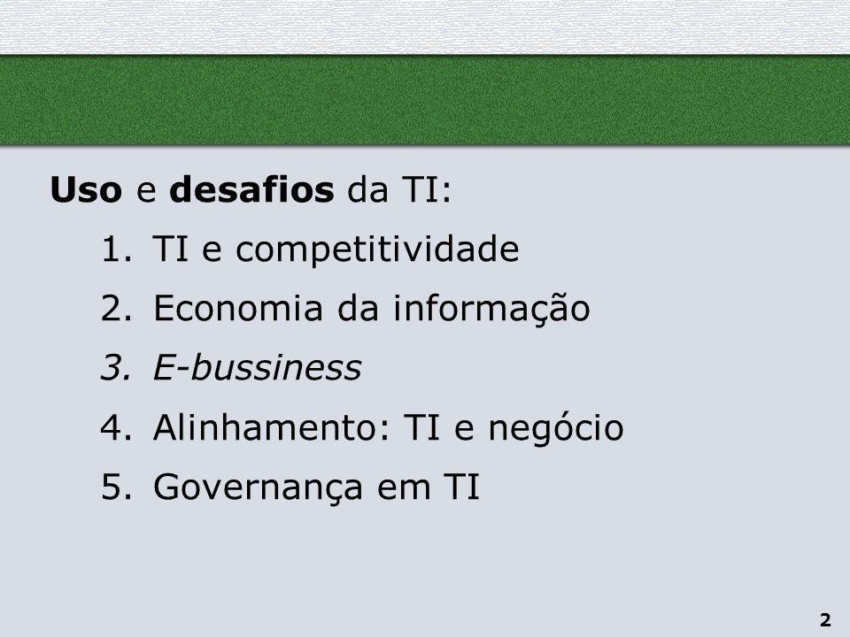 Uso e desafios da TI: TI e competitividade. Economia da informação. E-bussiness. Alinhamento: TI e negócio.