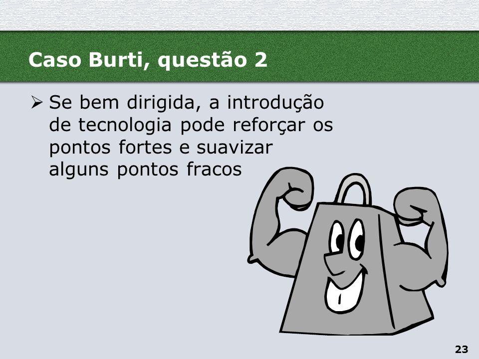 Caso Burti, questão 2 Se bem dirigida, a introdução de tecnologia pode reforçar os pontos fortes e suavizar alguns pontos fracos.